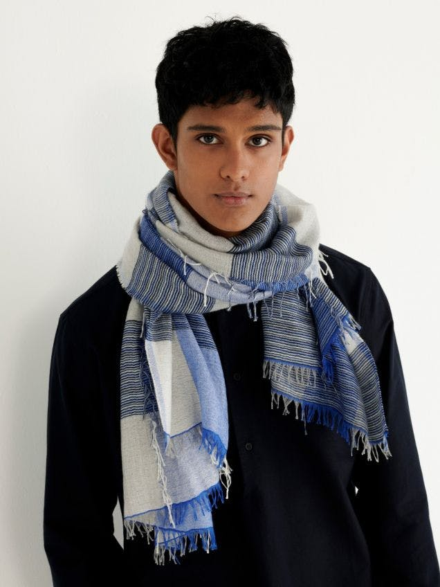 Mens Blue Multi Feather Check Cashmere Silk Scarf | Begg x Co